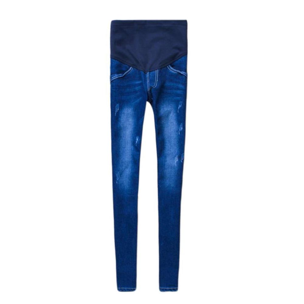 100% Brand New Fashion i Stylowe Kobiety W Ciąży Elastyczna Elastyczna Bawełna Jeans Denim Ołówek Spodnie Ciążowe Spodnie 2