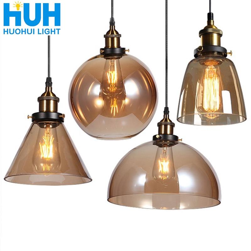 Vintage Anhänger Lichter Amerikanischen Bernstein Glas Anhänger Lampe E27 Edison Glühbirne esszimmer Küche Wohnkultur Planetarium Lampe