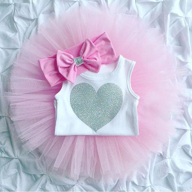 0-18 M Body Romper Noworodka Dziewczynek Ubrania Bez Rękawów Serca + Spódnica Tutu + Pałąk 3 sztuk Outfit Kids Odzież Ustaw 13