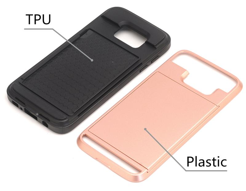 Zbroja slajdów credit card case do samsung galaxy s3 s4 s5 S6 S7 krawędzi Slot Portfel Shock Proof Skóry Twardego Plastiku + TPU Pokrywy Shell 2