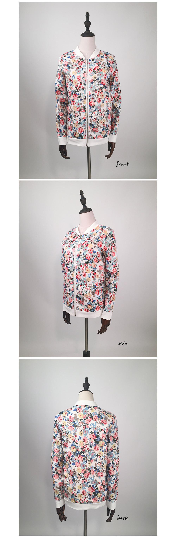 Floral Print Zipper Baseball Jacket 3