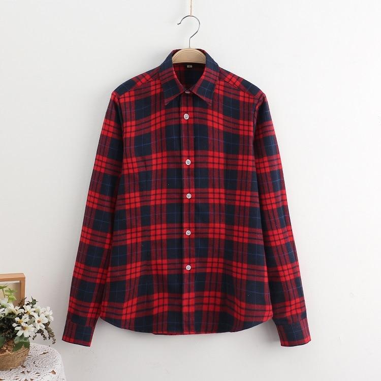 2016 Moda Plaid Shirt Kobiet College style damskie Bluzki Z Długim Rękawem Koszula Flanelowa Plus Rozmiar Bawełna Blusas Biuro topy 15