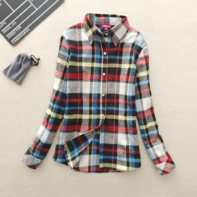2017 hot sprzedaż jesień zima panie kobieta casual cotton lapel bluzka bluzki z długim rękawem kratę koszula kobiet szczupła odzieży wierzchniej clothing 19