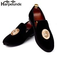 Harpelunde Men Event Shoes Lion Buckle Dress Shoes Black Velvet Loafer Slippers Size 6-14