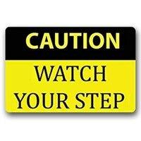 Entrance Floor Mat Non-slip Doormat Caution Watch Your Step Rubber Mat Non-woven Fabric Top 15.7x23.6 Inch