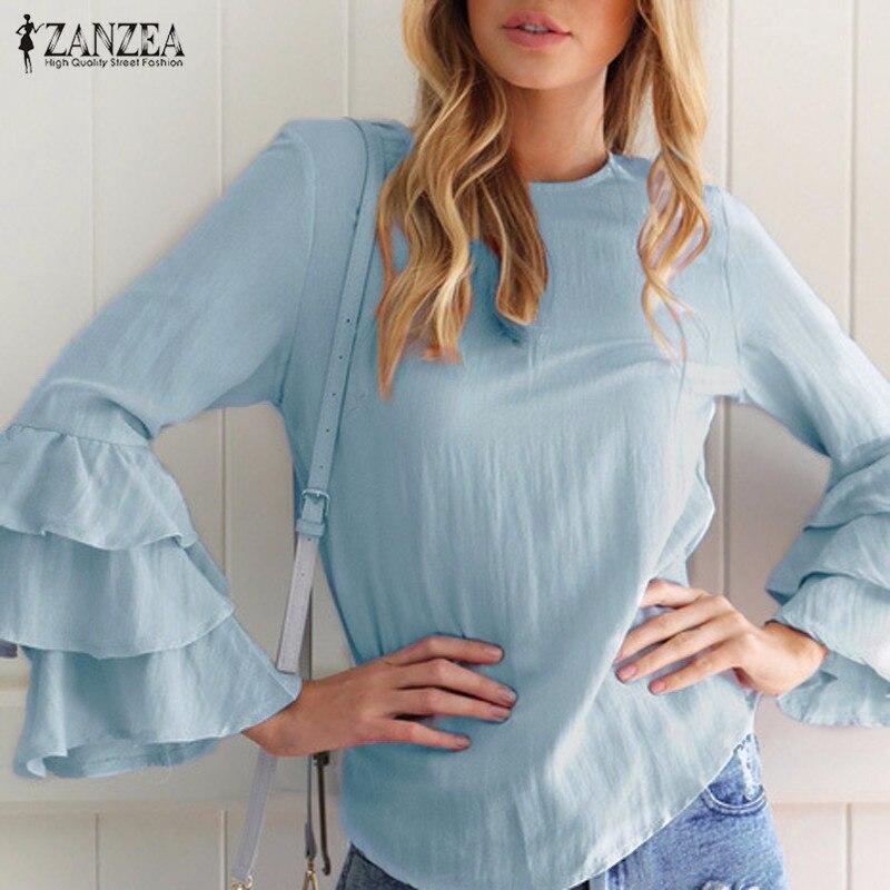 Zanzea kobiety bluzki koszule 2017 jesień eleganckie panie o-neck falbanką długim rękawem stałe blusas casual loose tops 8
