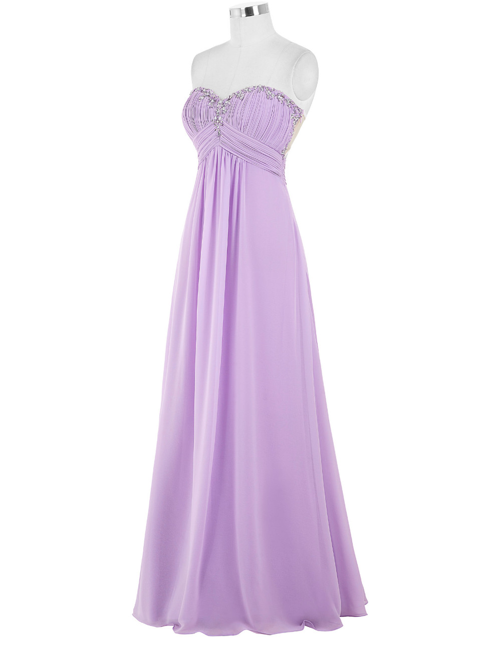 Lavender Green Royal Blue Long Chiffon Bridesmaid Dress 2