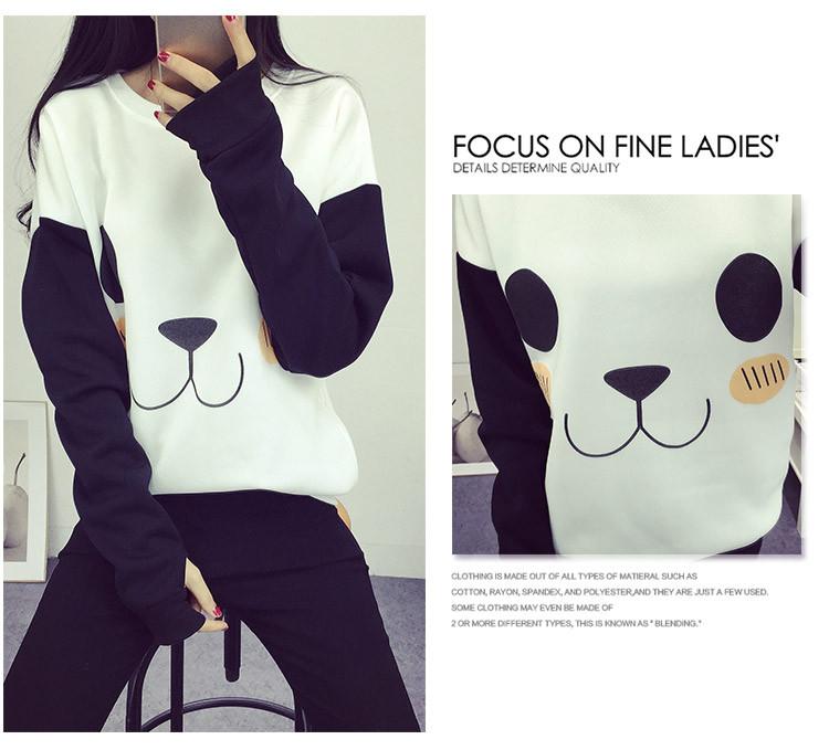 New College Wiatr Kobiety Bluzy Moda Cartoon Panda Bluzy Dorywczo Drukowane Mieszane Kolor Harajuku Dresy Kobiet Sudaderas 5