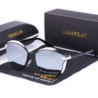 LMAOCLAN-럭셔리 패션 편광 선글라스 여성용, 고양이 눈 선글라스, 빈티지 브랜드 디자이너, 여성 선글라스