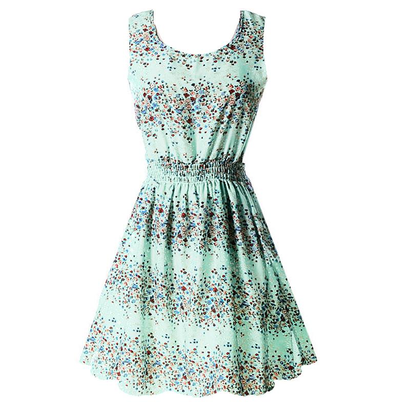 Sexy kobiety chiffon dress sundress plaża floral bez rękawów tank mini sukienki vestido 9