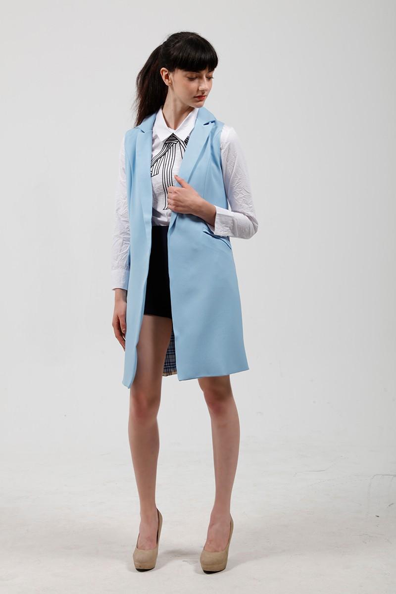 2017 wiosna nowy mody długie kieszenie turn-dół collar otwórz stitch pantone niebieski różowy beżowy czarny żakiet kamizelka bez rękawów kurtki 14