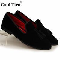 COOL TIRO Black Tassel Men Loafers Velvet Slippers Smoking Slip-on Casual Shoes Luxury Party Wedding Dress Men's Flats Plus Size