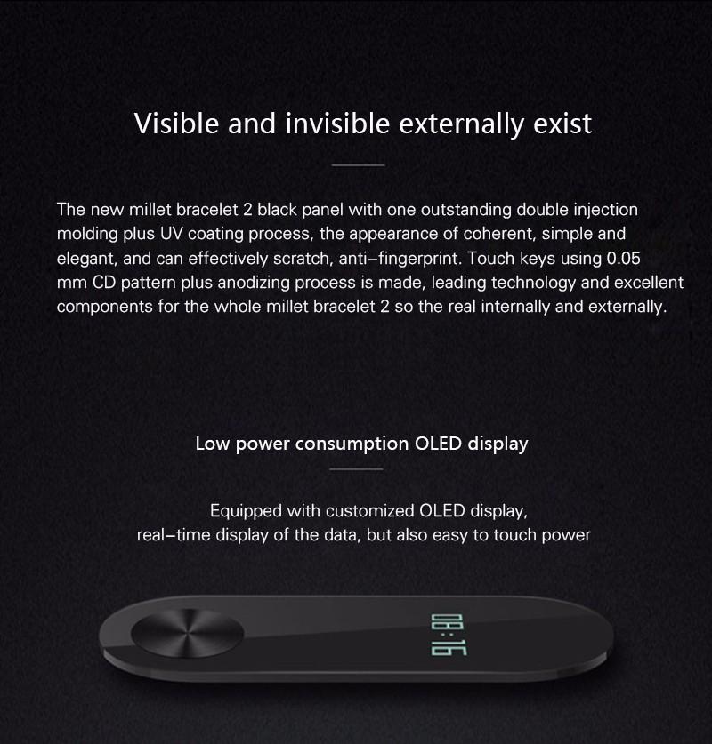 Oryginalny xiaomi mi kompania 2 miband bransoletka wistband inteligentnego tętno fitness ekran oled wyświetlacz dla iphone 7 touchpad bluetooth 24