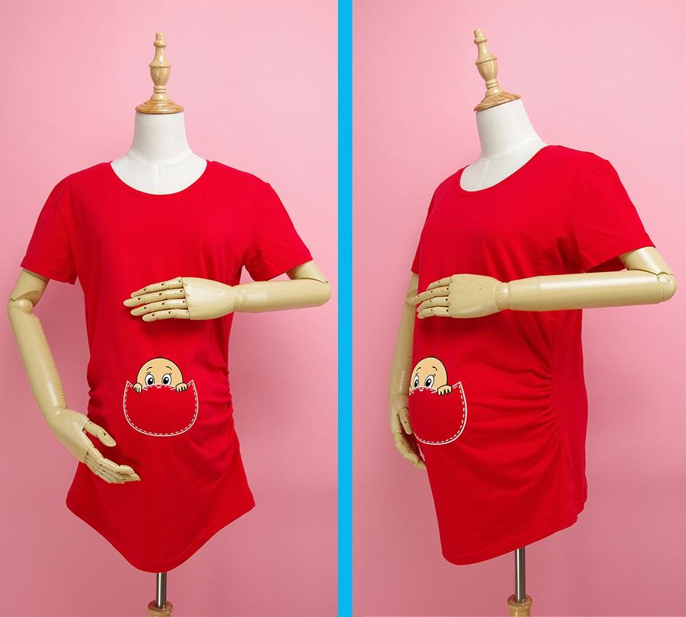 """""""Kieszonkowy dziecko siusiu boo"""" drukuj koszula ciążowa gravida top ciąży odzież tanie Tees Casual plus rozmiar XXL Darmowa wysyłka 7"""