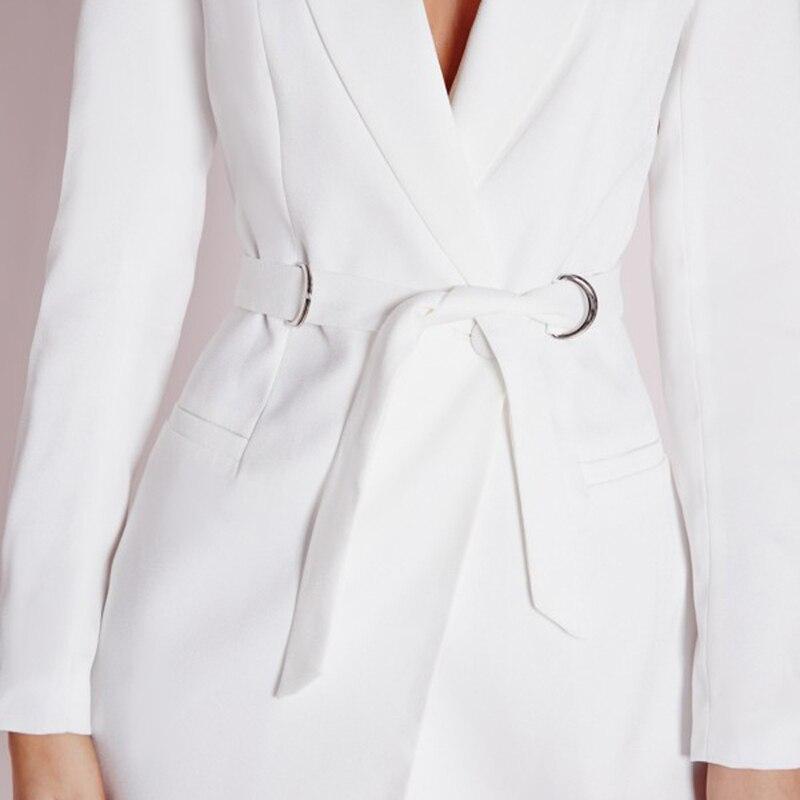 Hyh haoyihui kobiety dress vestidos bialy wysokiej talii dorywczo szczupła ol sukienki sexy plunge neck elegancka marynarka mini dress 9