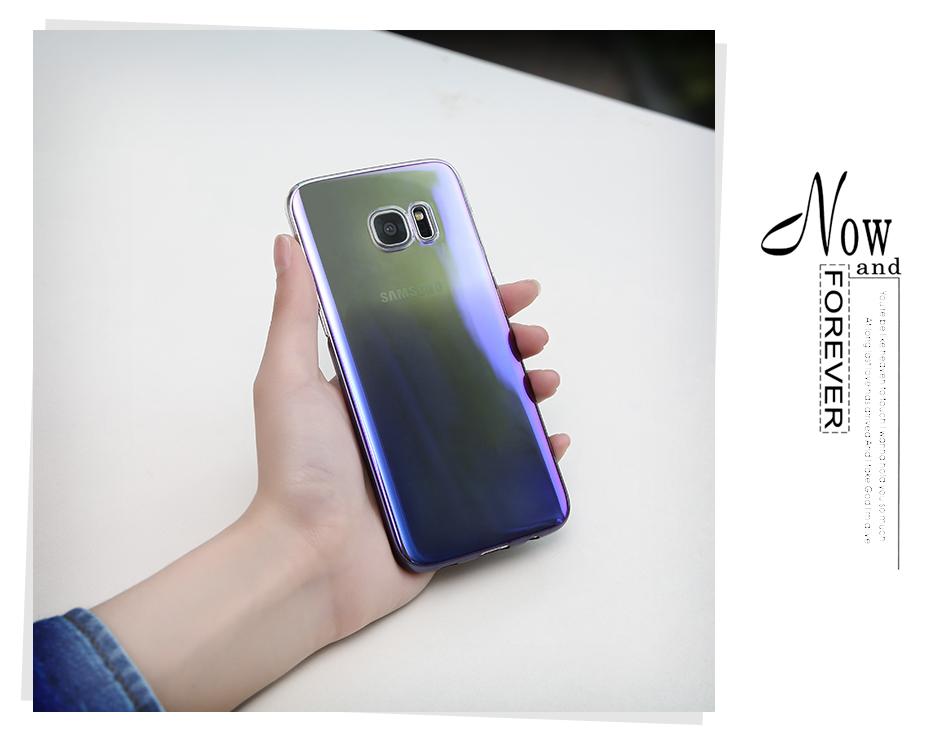Floveme cool blue ray plastic case do samsung galaxy s7 s8 s6 S7 s8 Plus Krawędzi Gradient Kolor Platerowane Pokrywa Powrót Ochronna Shell 11