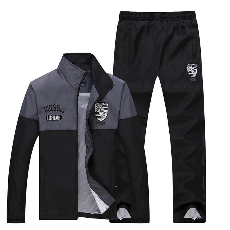 New Arrival Marka Dres Casual Sporta Kostiumu Mężczyźni Mody Bluzy Zestaw Kurtka + Spodnie 2 SZTUK Poliester Sportowej Mężczyzn 4XL 5XL SP019 16