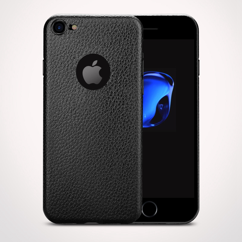 Dla iphone 7 plus iphone 7 case silicon ultracienkich tpu miękka skóra wzór case dla iphone 6 6s plus logo hole back cover czarny 4