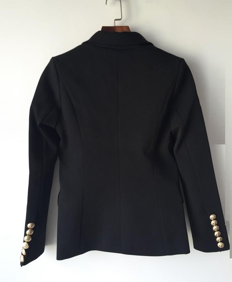 WYSOKA JAKOŚĆ Nowe Mody 2016 Runway Style damskie Złote Guziki Podwójne Piersi Marynarka Odzież Wierzchnia Plus rozmiar S-XXL 8