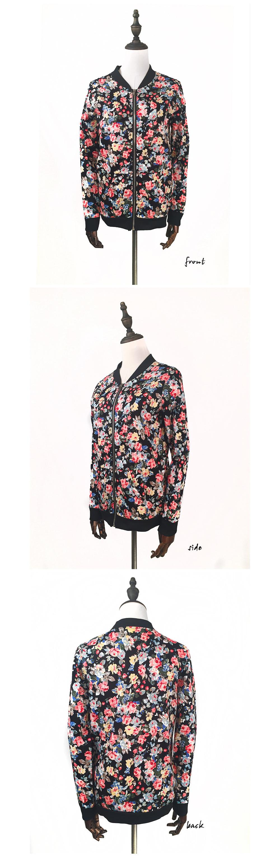 Floral Print Zipper Baseball Jacket 2