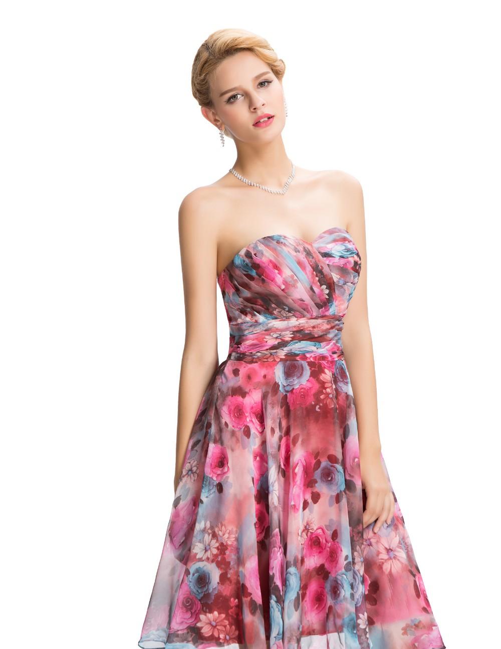 Chiffon Floral Print Short Wedding Bridesmaid Dress 5