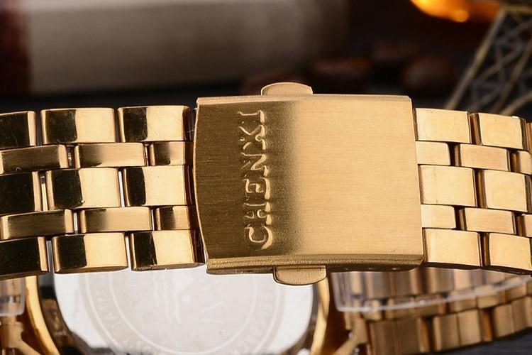 Chenxi złoty zegarek męskie zegarki top marka luksusowe znani zegarek męskie złoty zegarek kwarcowy kalendarz zegar relogio masculino 15