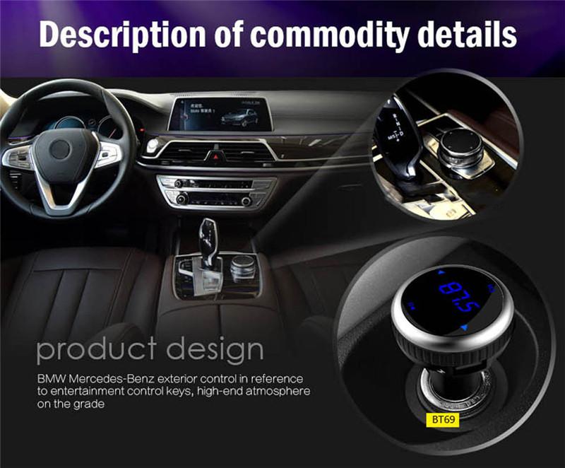 Samochodowy Odtwarzacz MP3 Audio Bluetooth Nadajnik FM Z Pilotem Zestaw Samochodowy Zestaw Głośnomówiący FM Modulator bezprzewodowy Ekran LCD w/TF gniazdo 1