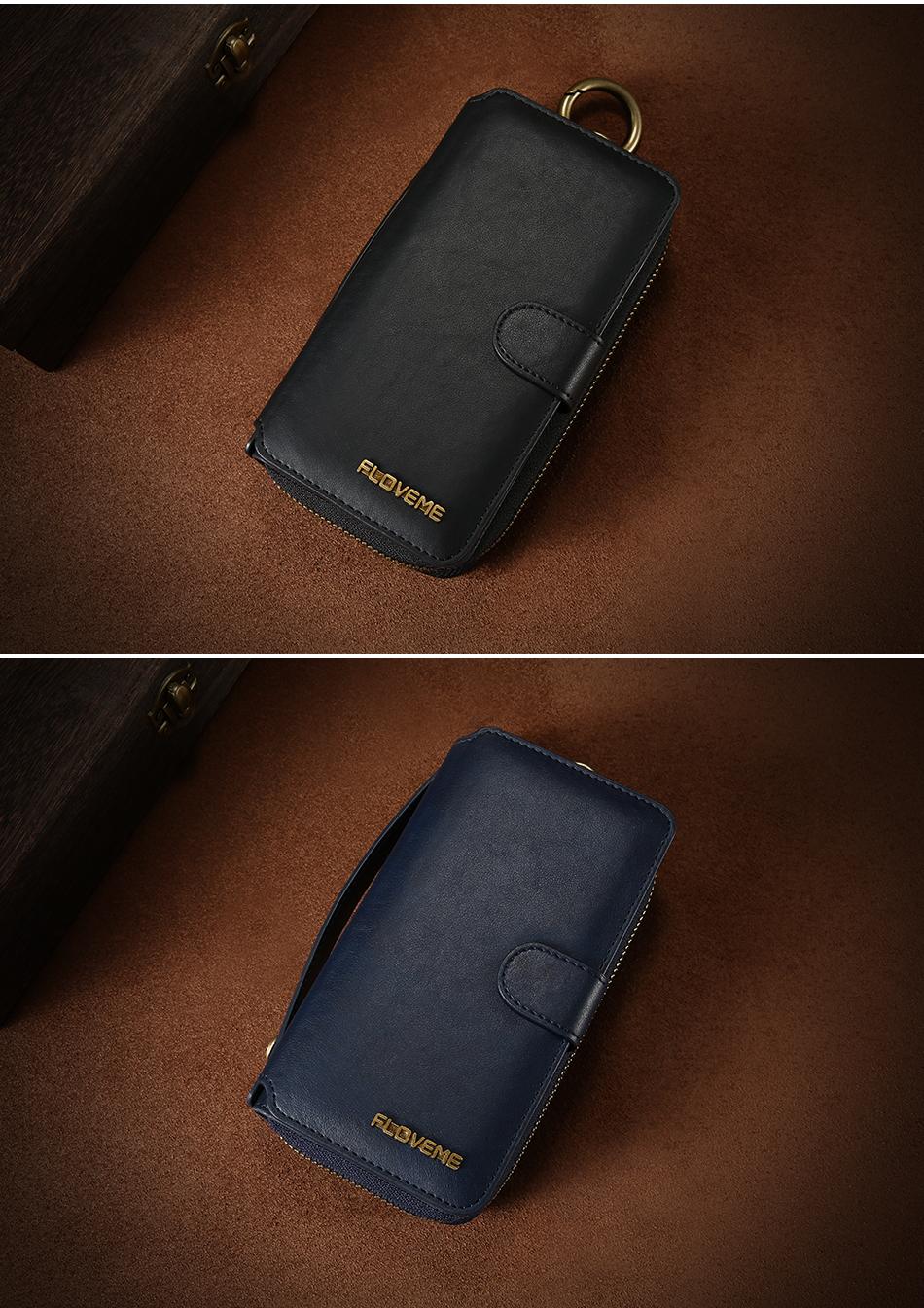 Floveme vintage leather wallet phone case for iphone 7 7 plus 6 6 s plus retro torebka slot kart pokrywa dla samsung s7 s8 coque 22