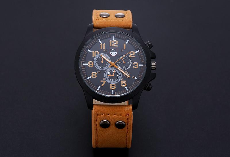 2016 New Business Quartz watch Men sport Zegarki Wojskowe Mężczyźni Corium Skórzanym Paskiem armii zegarek zegar godziny Kompletna Kalendarz 11