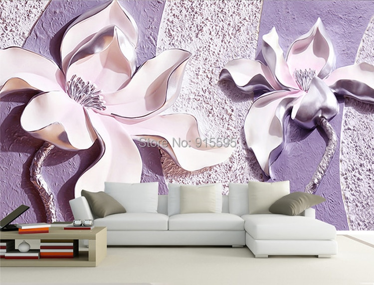 Dostosować dowolny rozmiar 3d relief purple magnolia sypialnia tv tło tapeta wystrój domu salon włókniny mural tapety 3