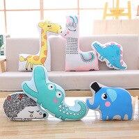 creative cartoon animal plush pillow toy printing sofa cushion , zipper closure washable soft pillow birthday gift s2819