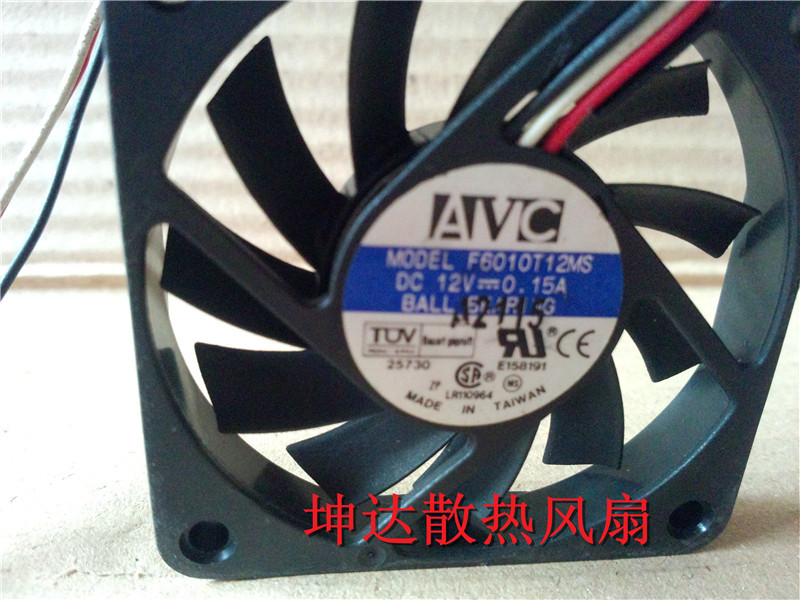 Free shipping original AVC 6CM 6010 F6010T12MS 12V 0.15A60 * 60 * 10mm 3 line CPU fan