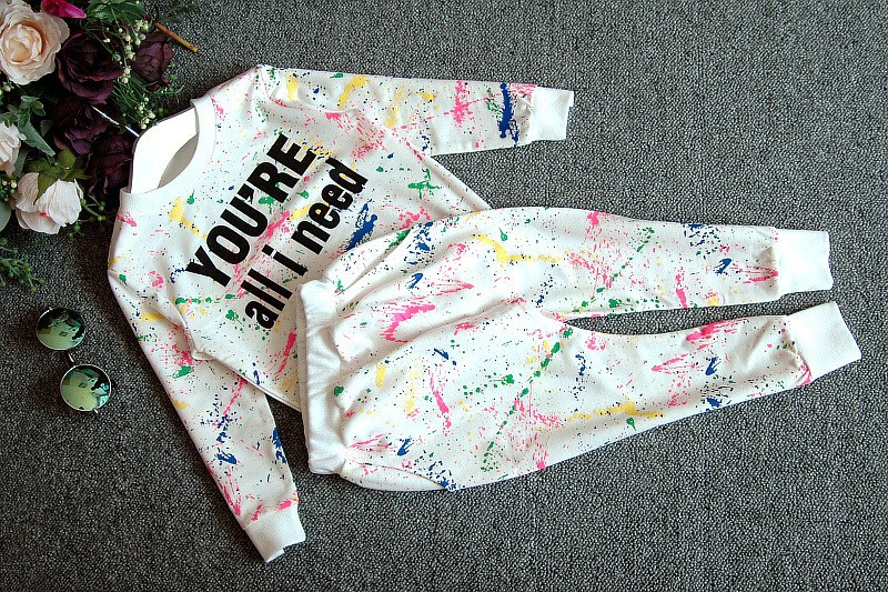 Ali Królik 2 SZTUK topy + spodnie Toddler dziewczyna odzież kolorowe drukowanie dziewczyny ubrania dres dziewczynek dzieci 2 3 4 5 lat 7 tkaniny 15