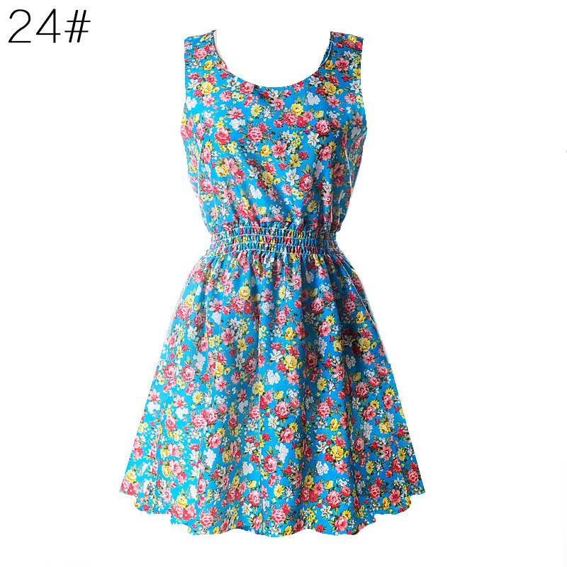 Sexy kobiety chiffon dress sundress plaża floral bez rękawów tank mini sukienki vestido 25