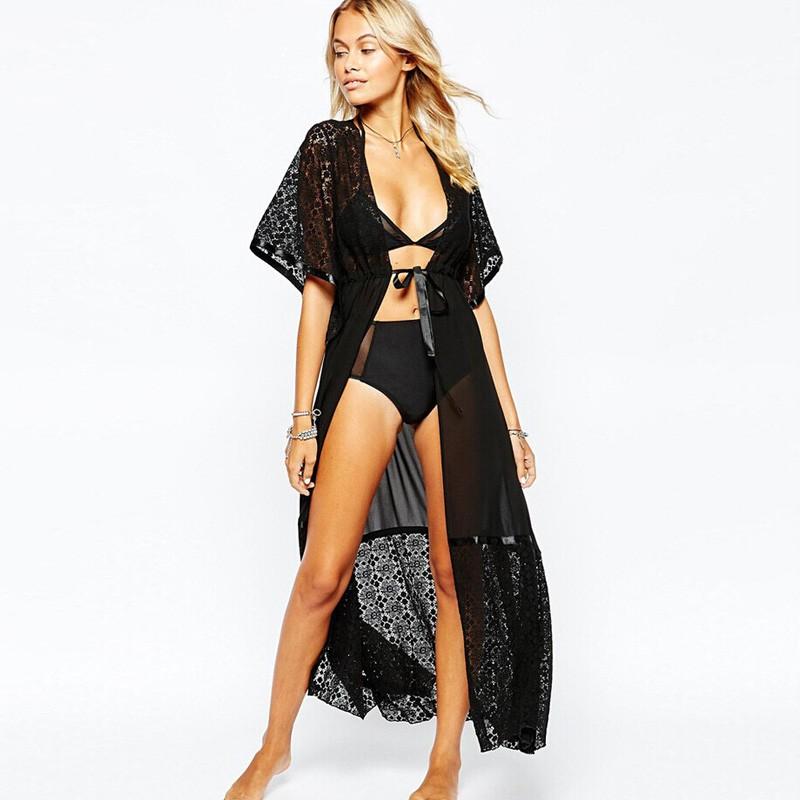 2016 moda lato sexy beach dress kobiety extra long lace tunique de plage plaży pareo plaża tunika sukienki 2