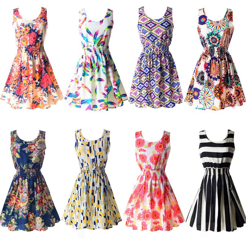 Sexy kobiety chiffon dress sundress plaża floral bez rękawów tank mini sukienki vestido 1
