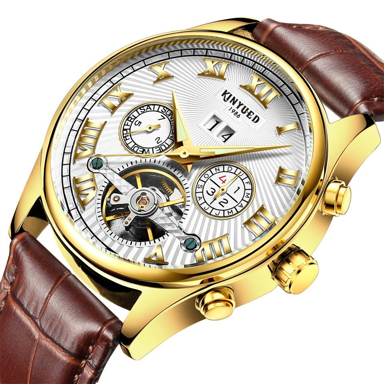 Kinyued Skeleton Watch Mężczyźni Automatyczna Wodoodporna Top Marka Męskie Zegarki Mechaniczne Skóry Kalendarza Złota Róża Relógio Masculino 4