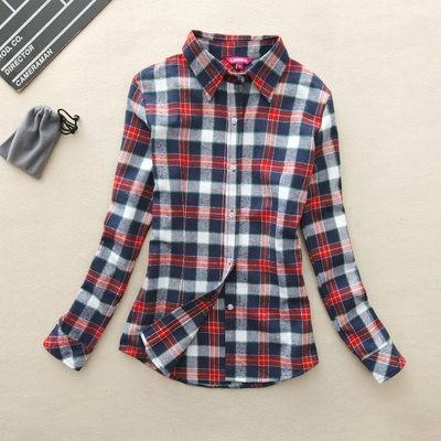 2017 hot sprzedaż jesień zima panie kobieta casual cotton lapel bluzka bluzki z długim rękawem kratę koszula kobiet szczupła odzieży wierzchniej clothing 24