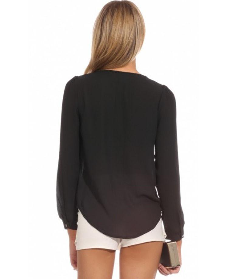 2017 Wysokiej Jakości Kobiety Bluzki i Koszule głębokie v szyi ubrania Mody Stałe szyfonowa Koszula sexy Bluzki Koszule damskie 7