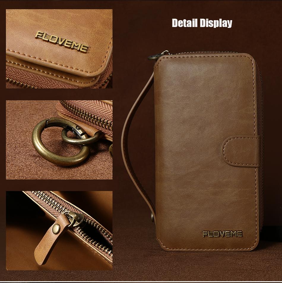 Floveme vintage leather wallet phone case for iphone 7 7 plus 6 6 s plus retro torebka slot kart pokrywa dla samsung s7 s8 coque 15