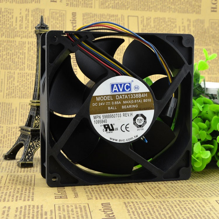 Free Shipping AVC Radiator fan DATA1338B4H 12.7CM 12738 12.7*3.8CM 24V 0.65A cabin temperature control cooling fan