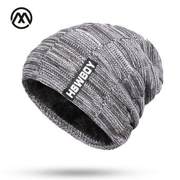 cc93ab08 Skullies New men's knit plus velvet thick winter hats warm