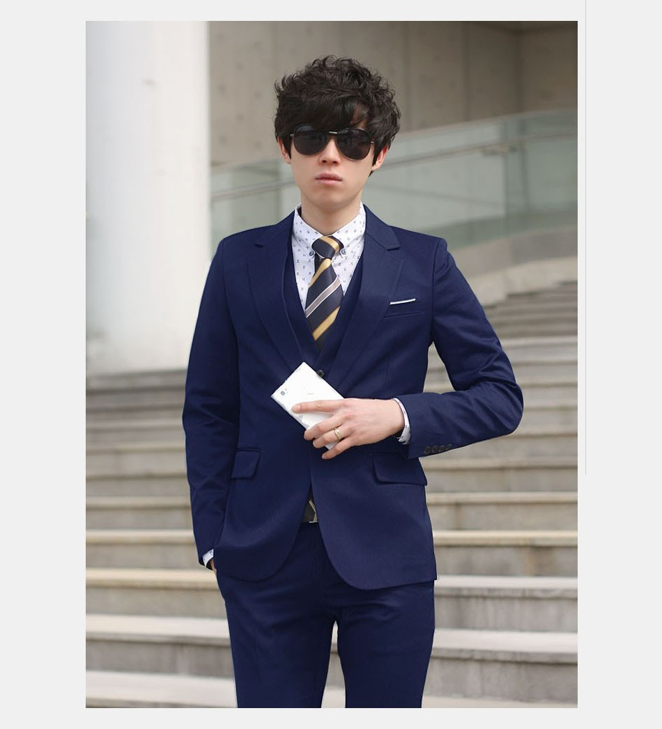 (Kurtka + Spodnie + Tie) luksusowe Mężczyzn Garnitur Mężczyzna Blazers Slim Fit Garnitury Ślubne Dla Mężczyzn Kostium Biznes Formalne Party Niebieski Klasycznej Czerni 15