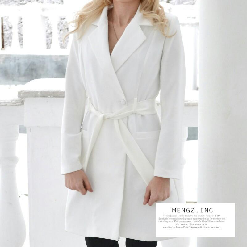 RichLuLu Bialy Blazer Kobiety Odzież Belt Biuro Panie Długi Rękaw Elegancka Kurtka Kobiet Głęboki Dekolt Blazer Cardigans 8
