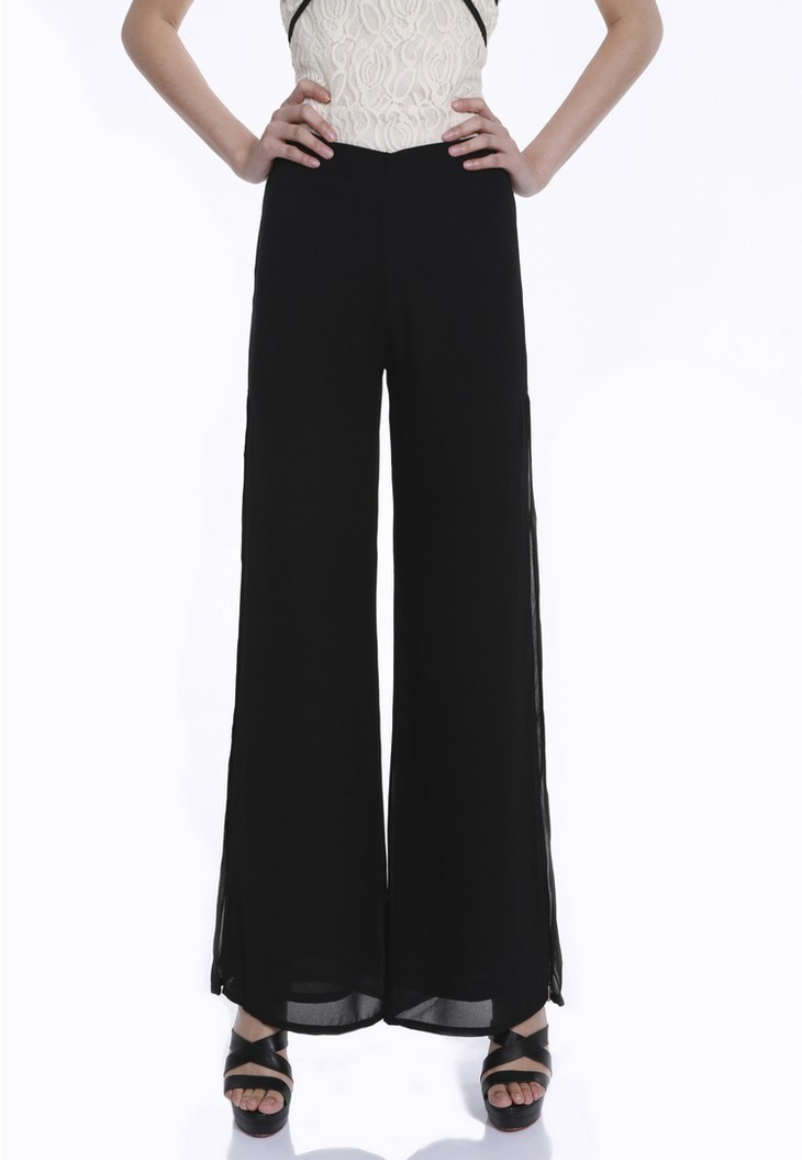 Vintage Loose High Waist Long Chiffon Side Split Casual Pants 4