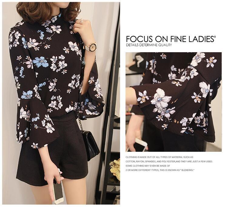 2016 jesień kwiatowy flare rękawem koszula szyfonowa bluzka kobiet topy kobiety biuro panie bluzka koreański fashion blusas chemise femme 6