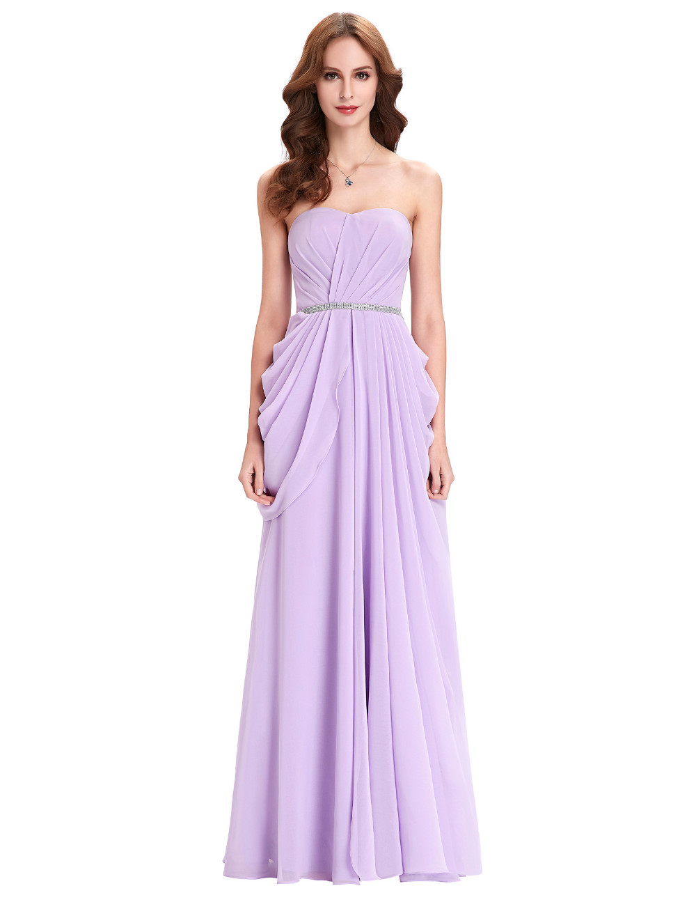 Purple Lavender Long Chiffon Floor Length Bridesmaid Dress 5