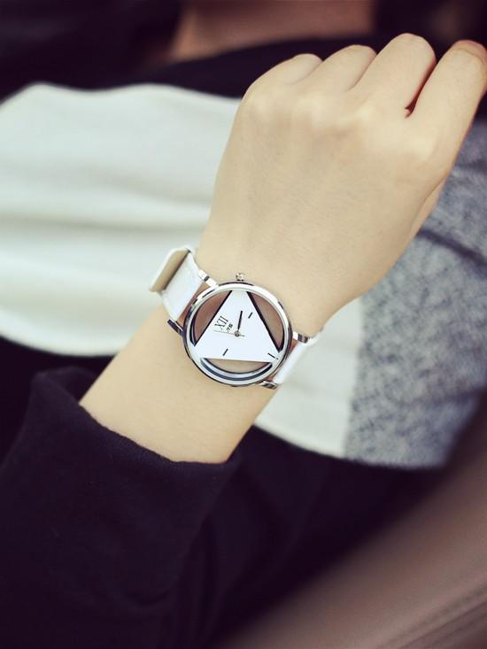 Szkielet zegarek Relogio feminino Trójkąt zegarka kobiet Delikatne przejrzyste pusta skórzany pasek wrist watch quartz dress watch 7