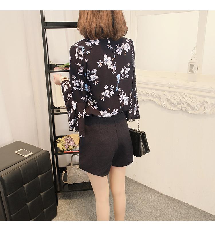 2016 jesień kwiatowy flare rękawem koszula szyfonowa bluzka kobiet topy kobiety biuro panie bluzka koreański fashion blusas chemise femme 9
