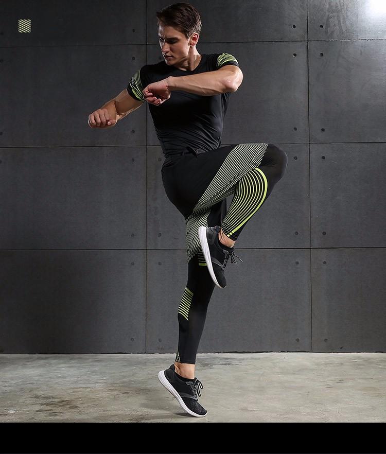 3 Sztuka Zestaw męska sport przebiegu stretch rajstopy legginsy + t shirt + spodenki spodnie treningowe jogging fitness gym kompresji garnitury 26